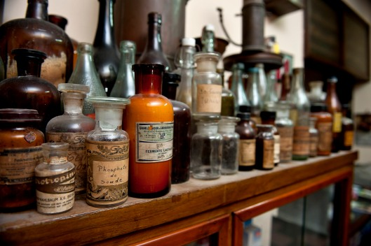 bottles of ingredients for pharmacy